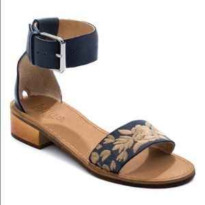 Latigo Navy Tana Embroidered Leather Sandal